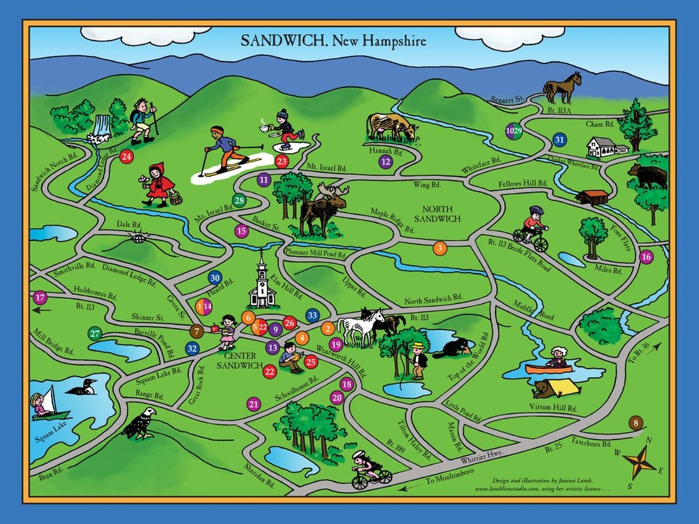 cartoon map of Sandwich