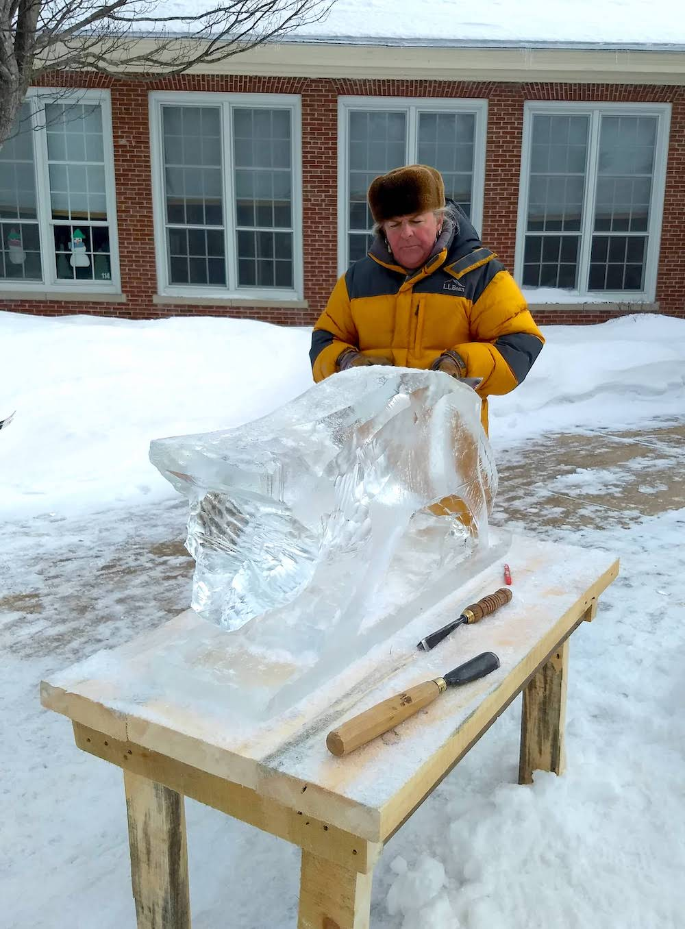 An early stage of the ice carving